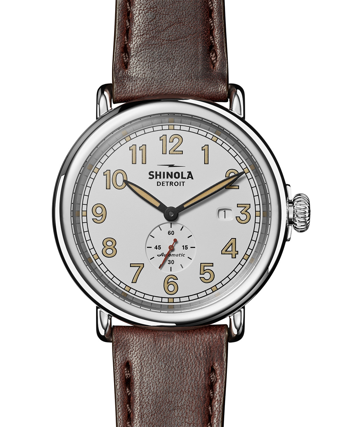 """Shinola MEN'S """"THE STATION AGENT"""" 45MM RUNWELL AUTOMATIC SUB-SECOND W/ DATE WATCH"""