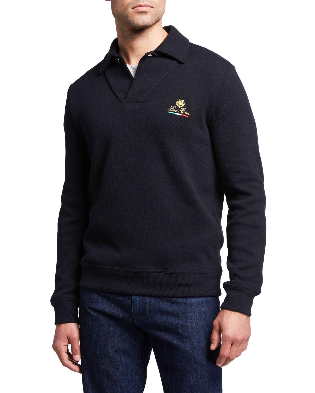 Men's Johnny-Collar Logo Polo Sweater