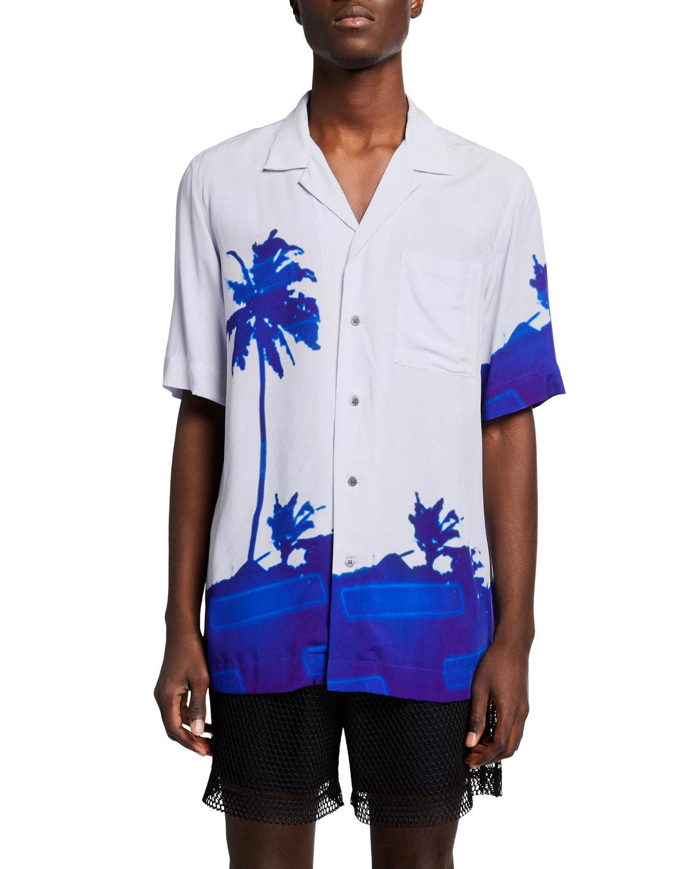 Men's Viscose Palm-Print Camp Shirt