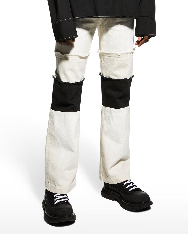 Men's Bicolor Patched Straight-Leg Jeans