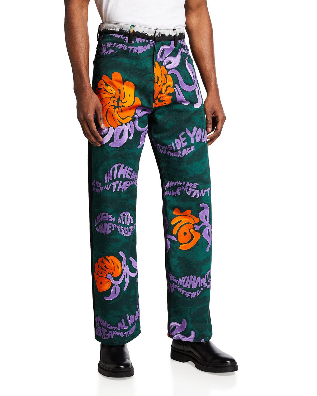 Men's Floral-Print Jeans