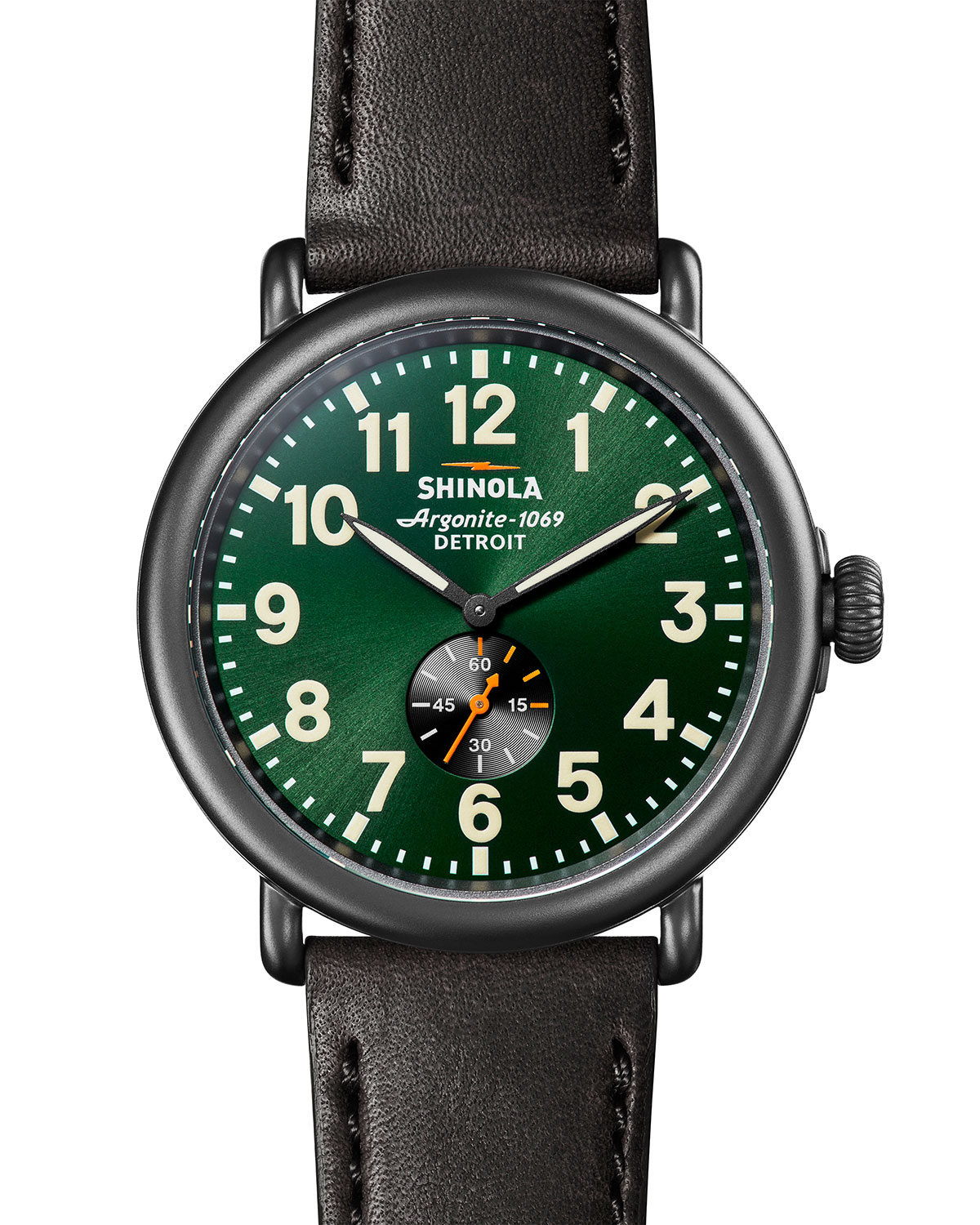 Men's 47mm Runwell Sub-Second Watch with Leather Strap