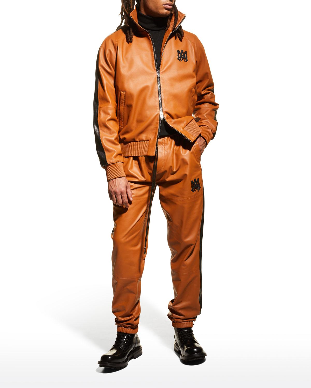 Men's Leather Track Jogger Pants