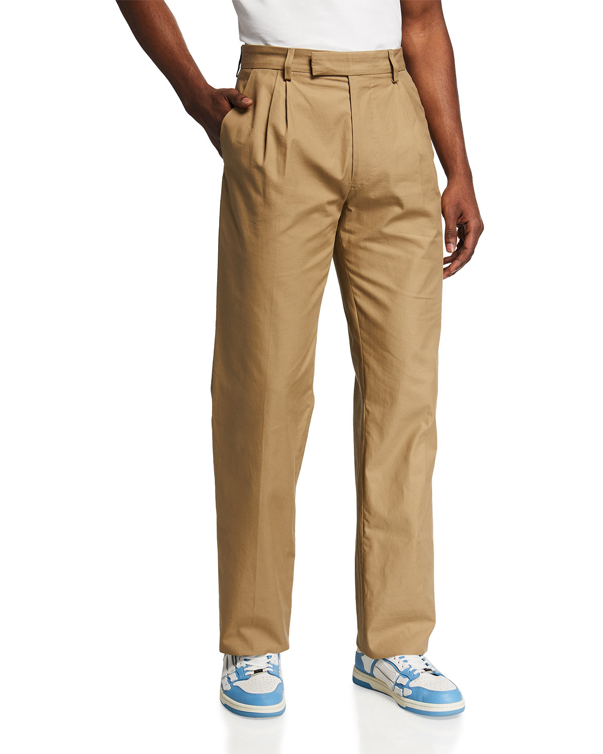 Men's Pleated Relaxed High-Rise Trousers