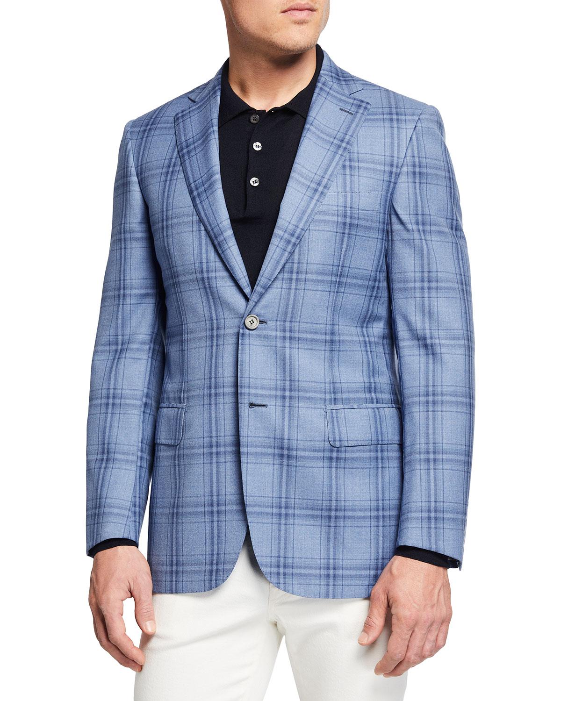 Men's Plaid Two-Button Sport Jacket