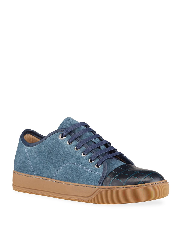 Men's Moc-Croc Cap-Toe Mix-Leather Sneakers