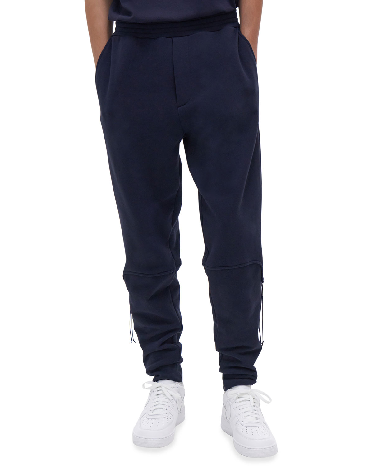Helmut Lang MEN'S LOOSE FRENCH TERRY LACED SWEATPANTS