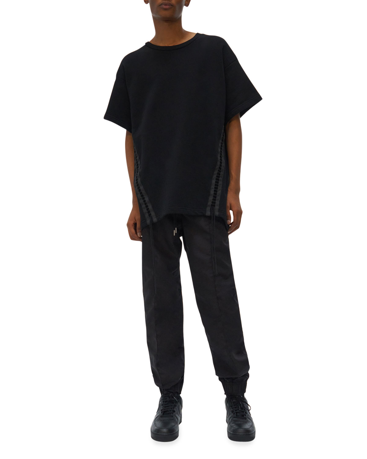 Men's Loose French Terry Laced T-Shirt