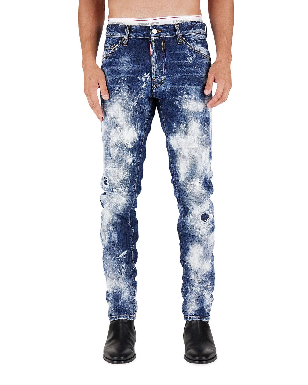 Men's Paint Job Cool Guy Bleached Jeans