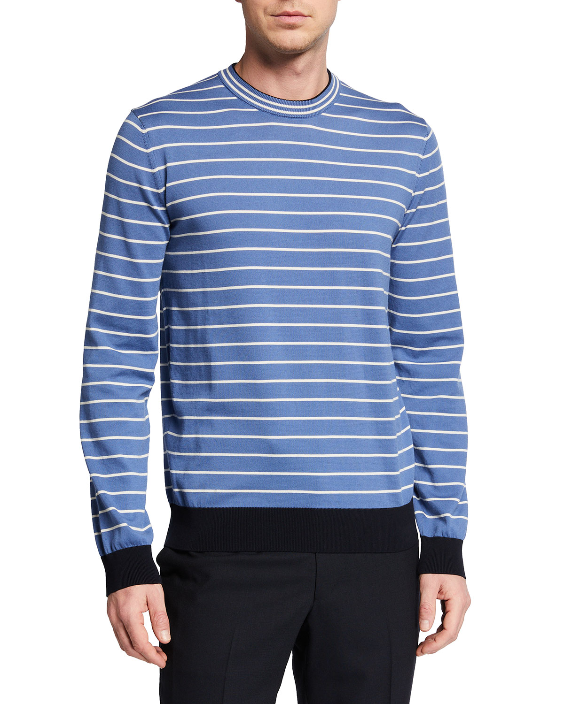 Men's Striped Knit Crewneck Sweater