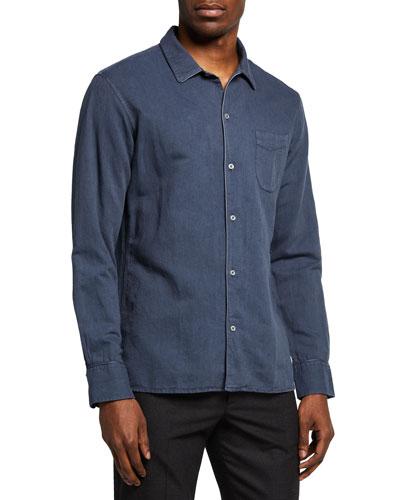 Premier Mens Long Sleeve Jeans Stitch Denim Casual Business Shirt Unisex
