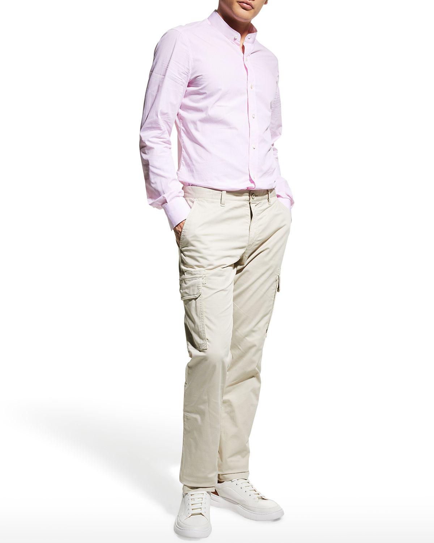 Men's Pencil Stripe Band-Collar Sport Shirt