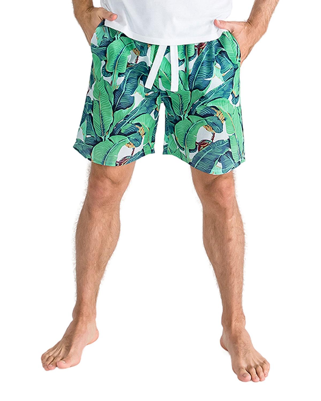Men's Leaf-Print Sleep Shorts