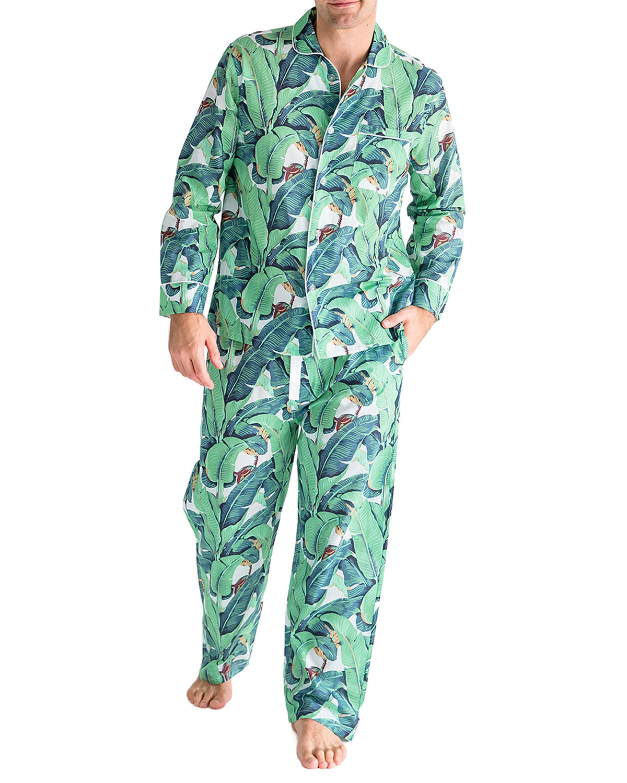 Men's Leaf-Print Long-Sleeve Pajama Set