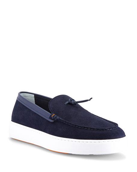 Santoni Men's Bergen Knot Suede Slip-On Sneakers