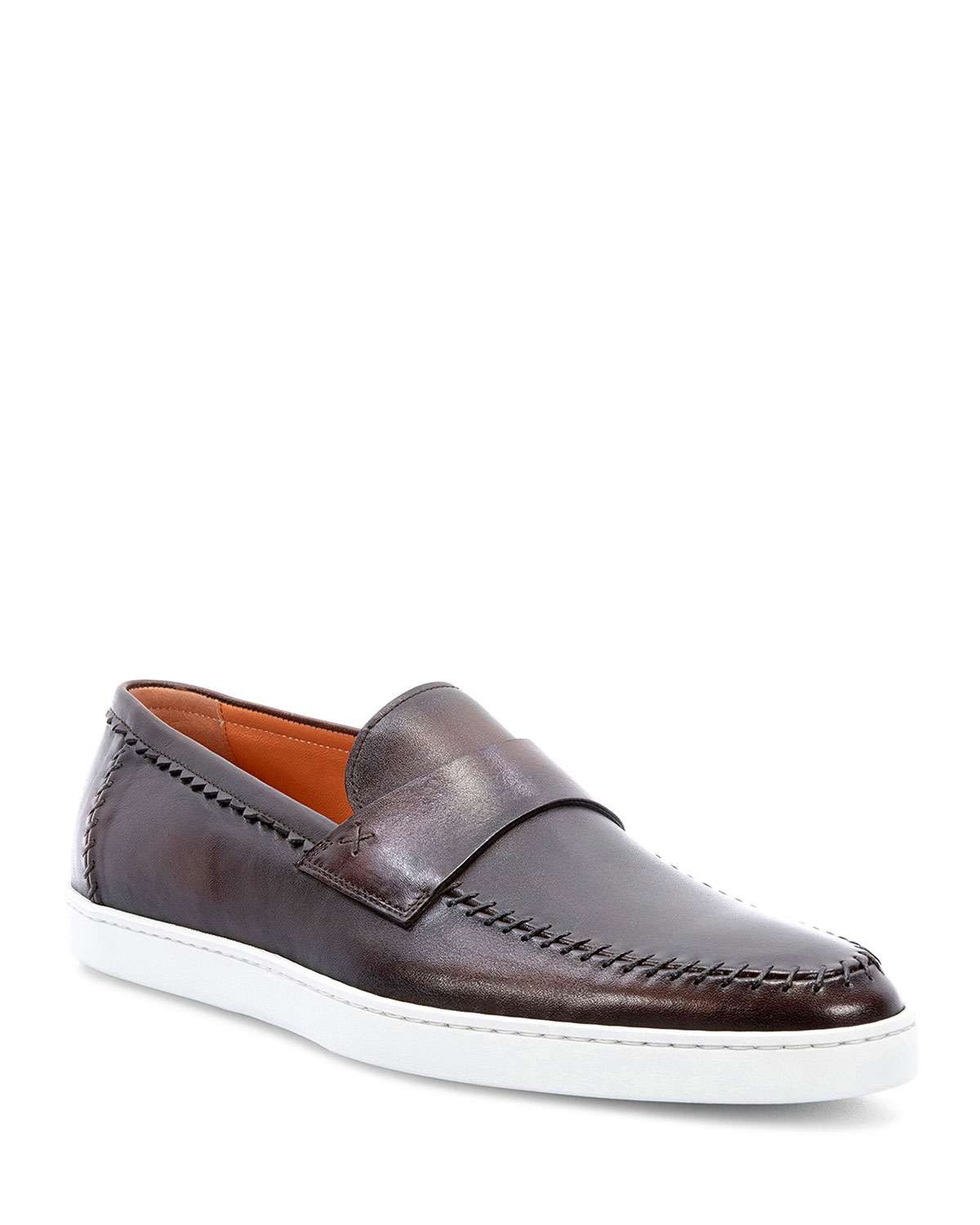 Men's Banker Stitch-Trim Leather Loafers