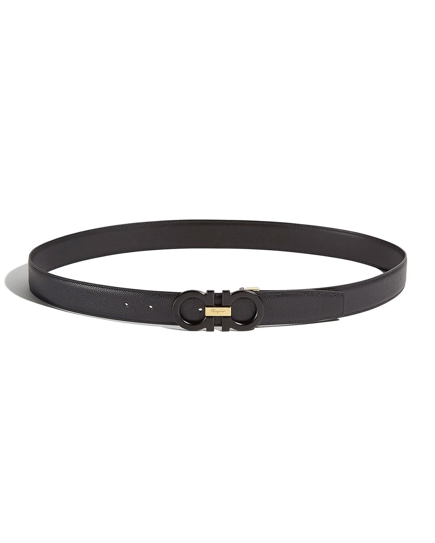 Men's Leather Gancini-Buckle Belt