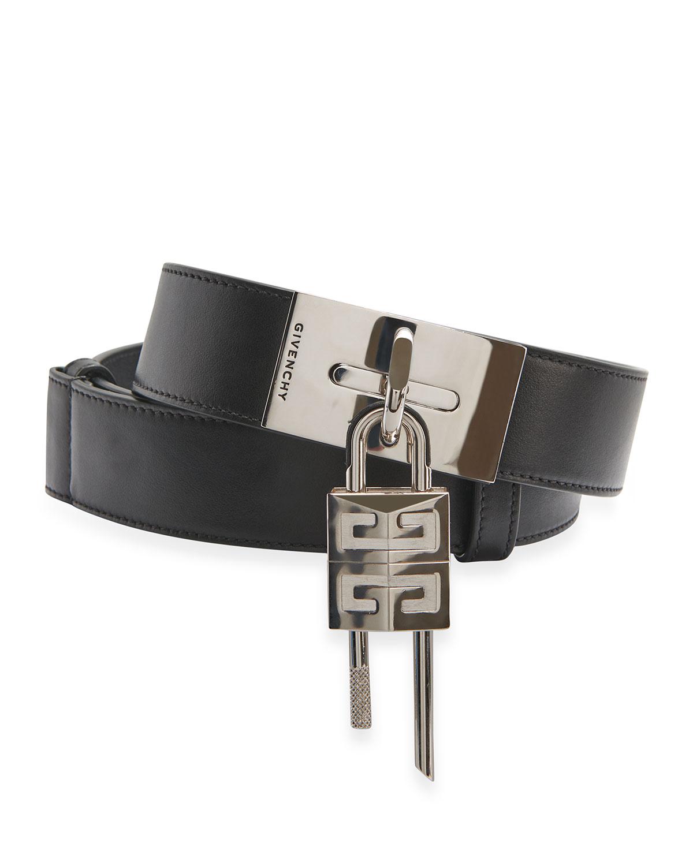 Men's Smooth Leather Lock Belt