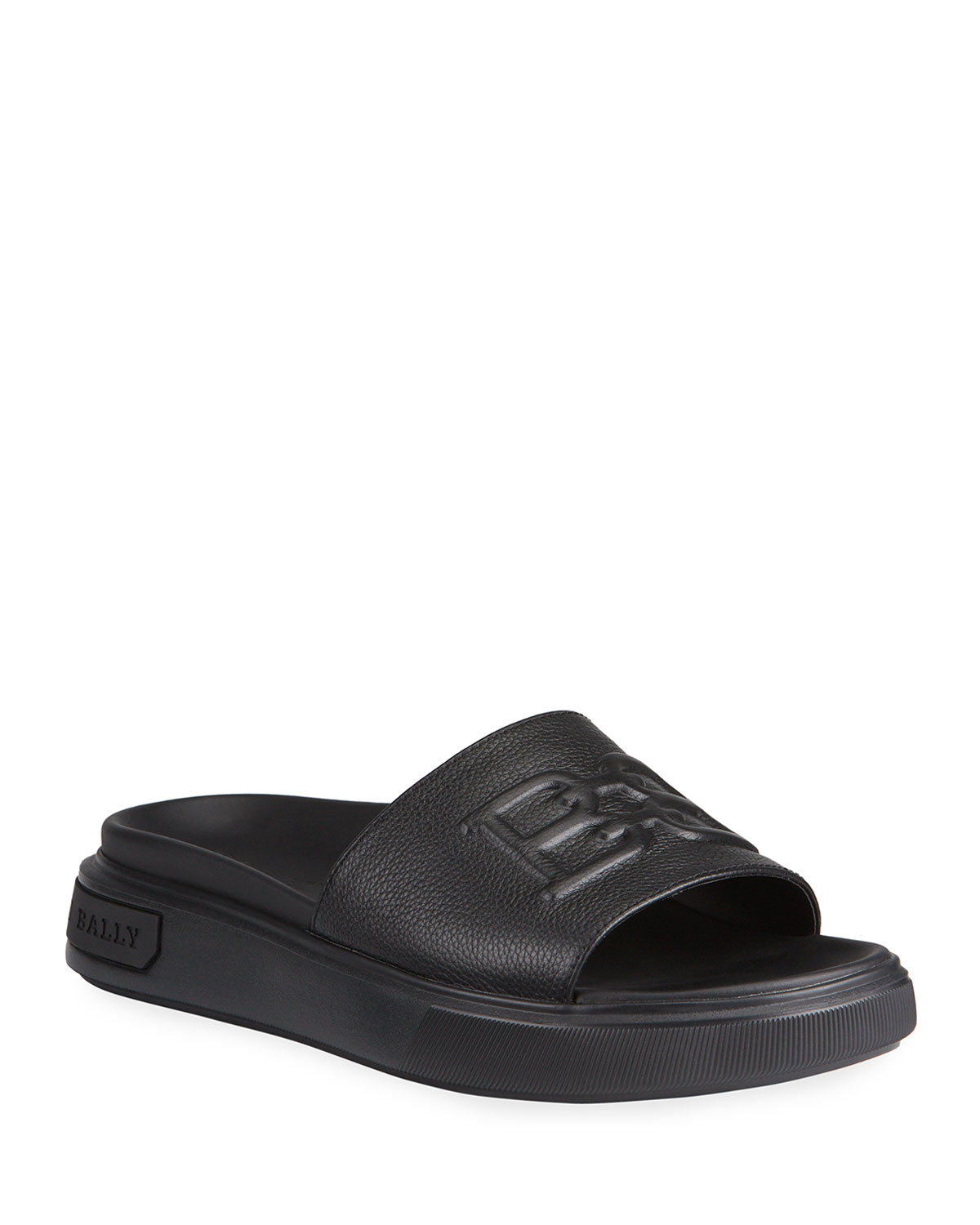 Bally MEN'S JARMO B-CHAIN EMBOSSED LEATHER SLIDE SANDALS