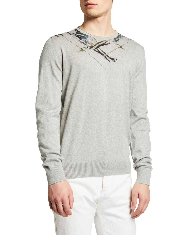 Men's Cotton-Cashmere Sweater w/ Paint Detail