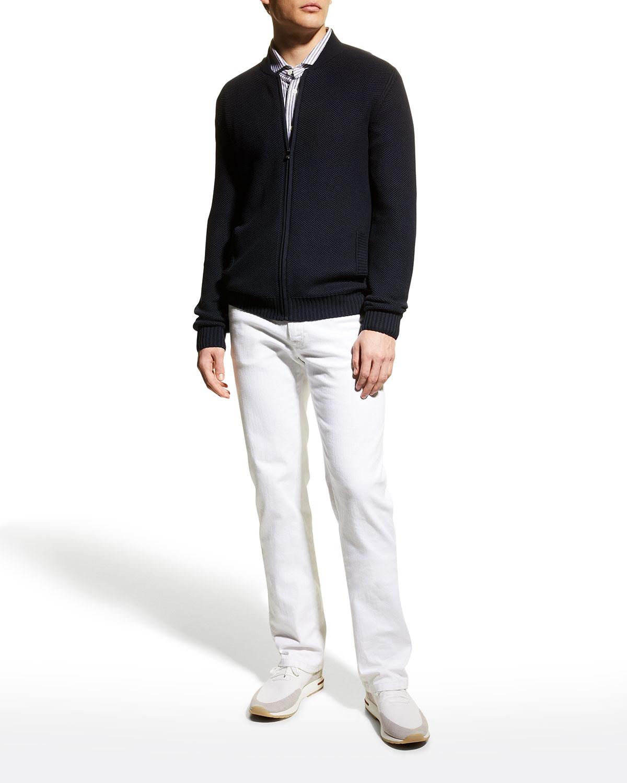 Men's Pique Zip-Front Cardigan