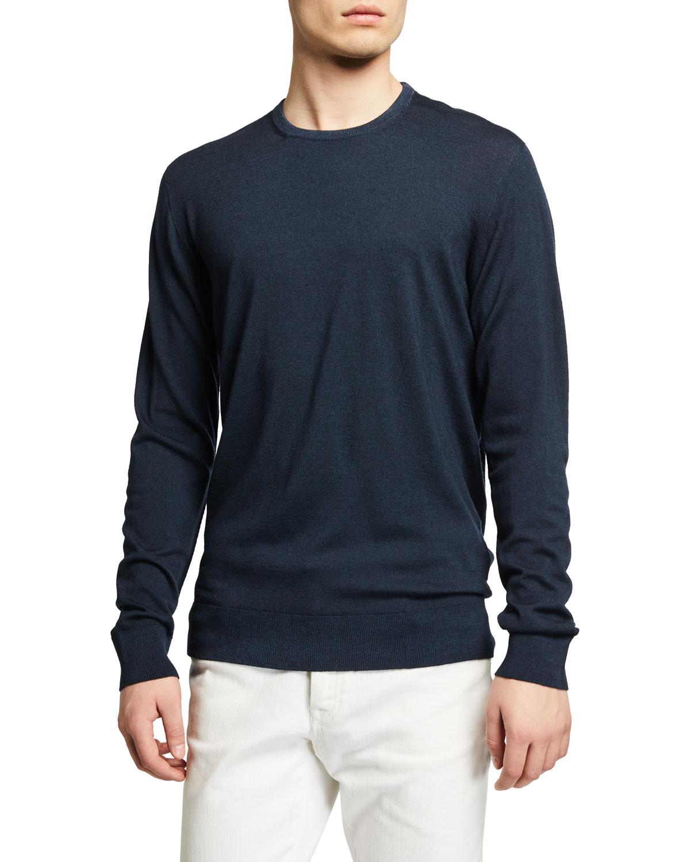Men's Garment-Washed Wool Crew Sweater