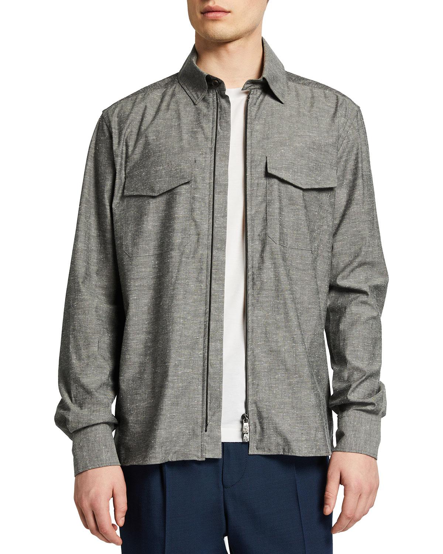 Men's Melange Zip-Front Overshirt