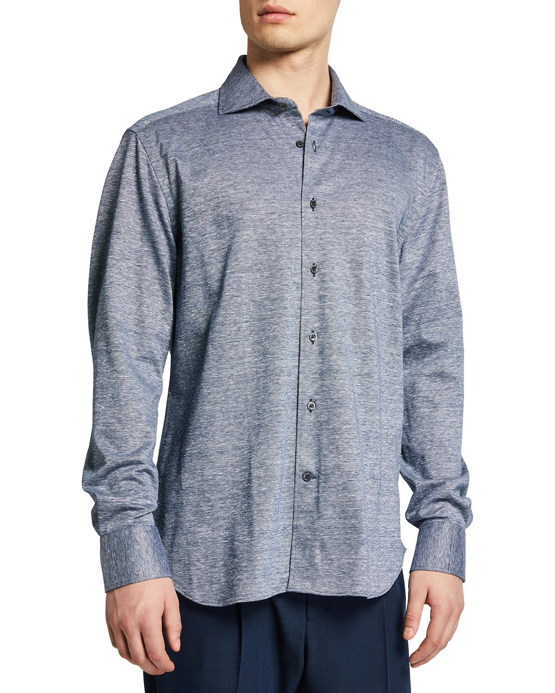 Men's Melange Linen-Cotton Sport Shirt