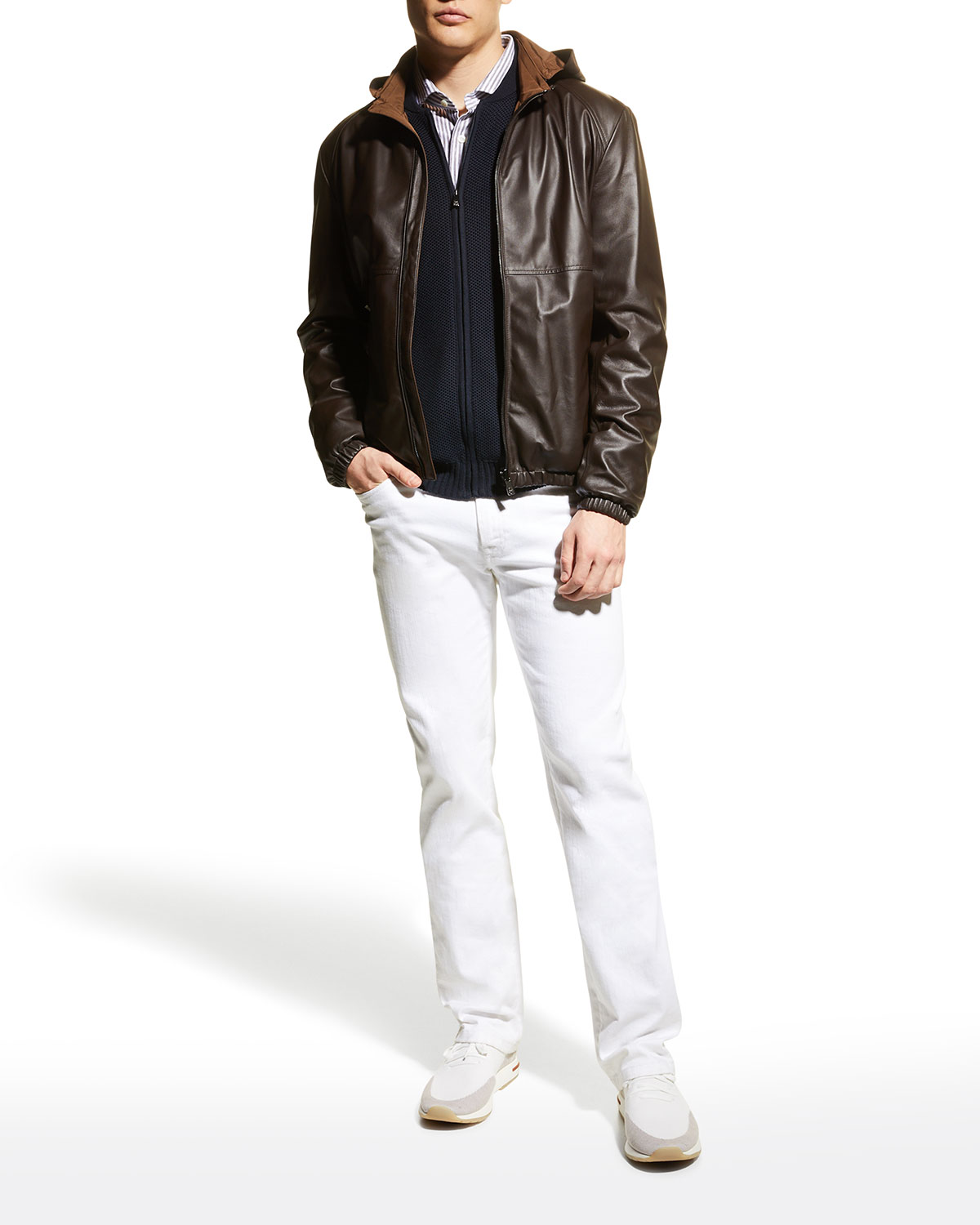 Men's Napa Leather/Polyester Reversible Hooded Jacket