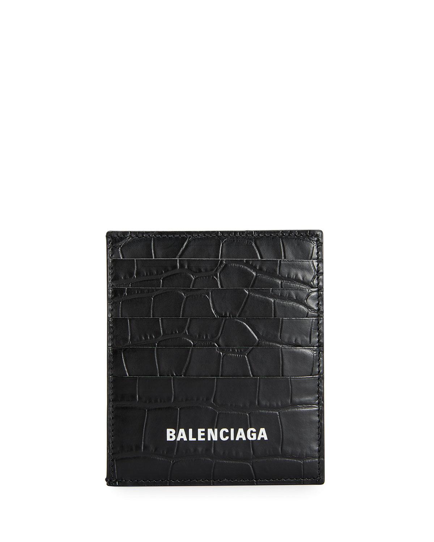 Balenciaga MEN'S CROC-EMBOSSED LEATHER CARD CASE