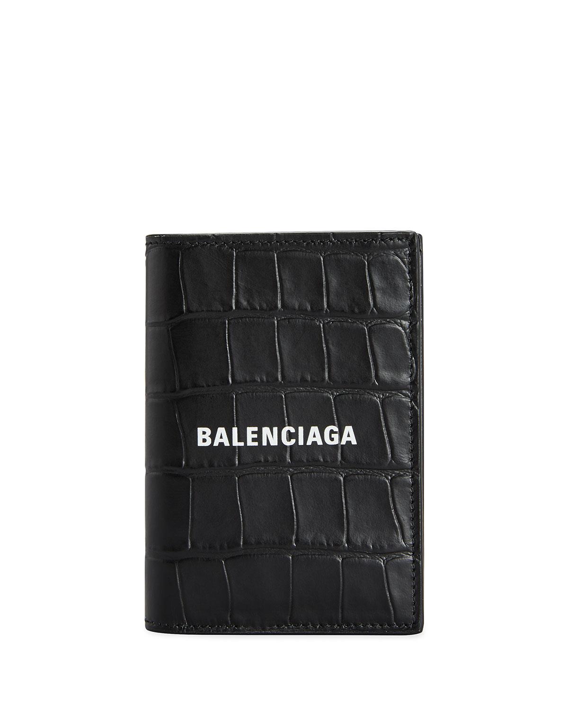 Balenciaga MEN'S CROC-EMBOSSED LEATHER WALLET