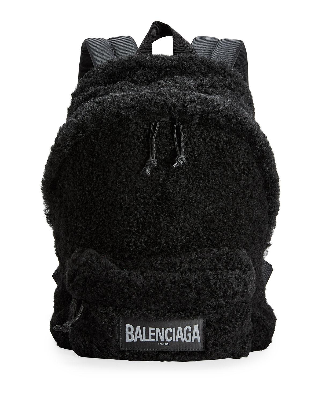 Balenciaga MEN'S FLUFFY FAUX-FUR BACKPACK