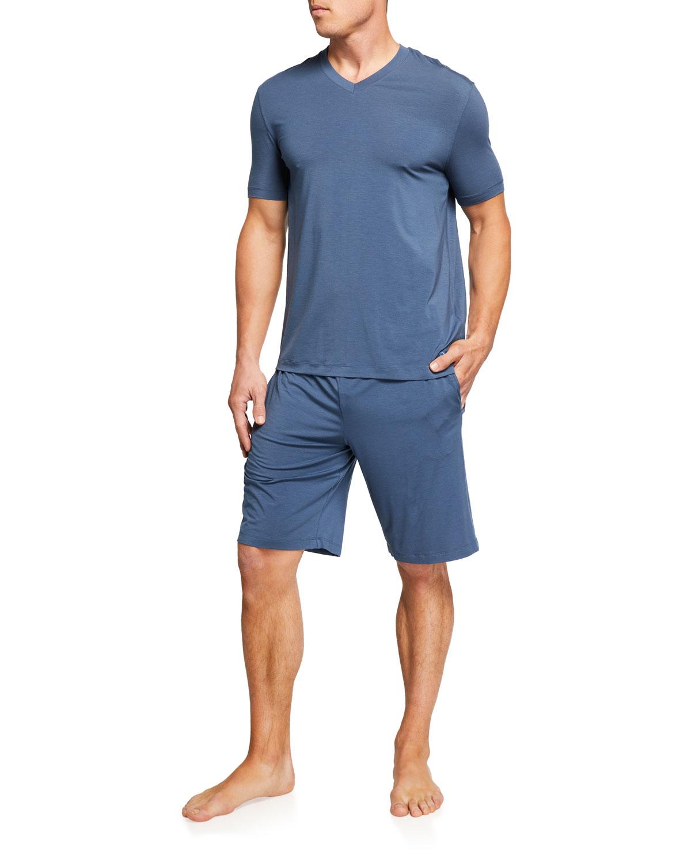 Men's Modal V-Neck Solid Pajama Set