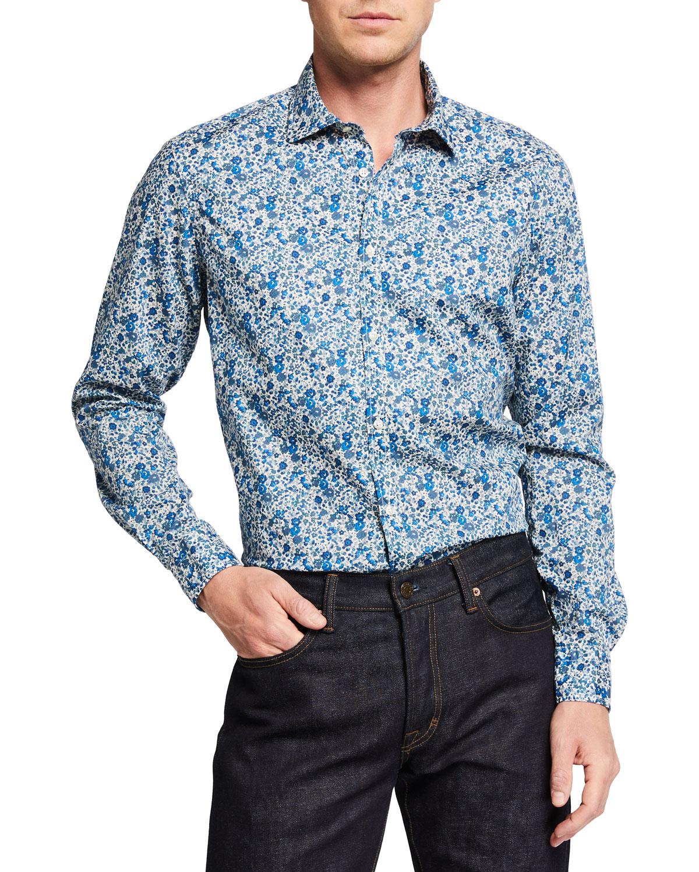Men's Micro-Floral Liberty-Print Sport Shirt