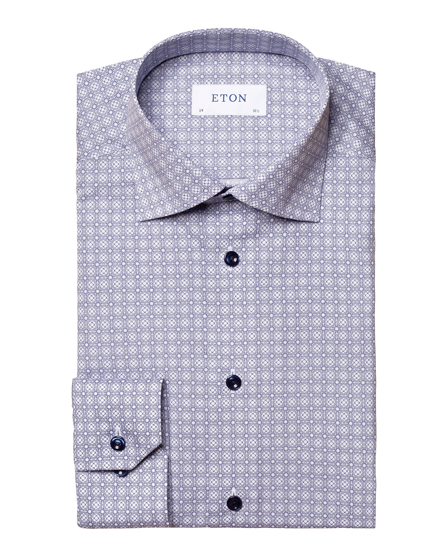 Men's Slim-Fit Tile-Print Dress Shirt
