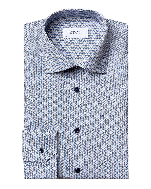 Men's Slim-Fit Micro-Print Dress Shirt