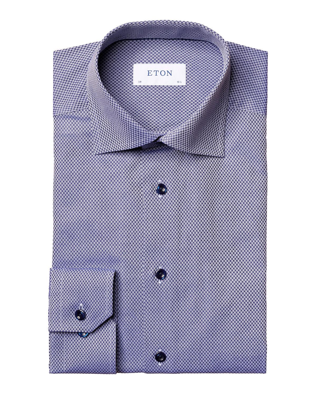 Eton MEN'S CONTEMPORARY-FIT GEOMETRIC DOBBY DRESS SHIRT