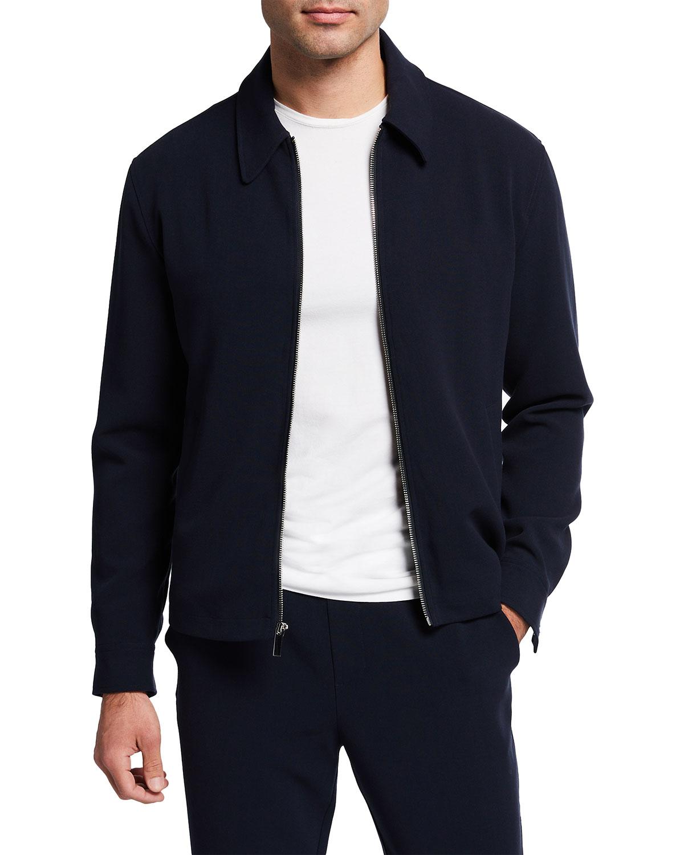 Men's Solid Zip-Front Travel Jacket