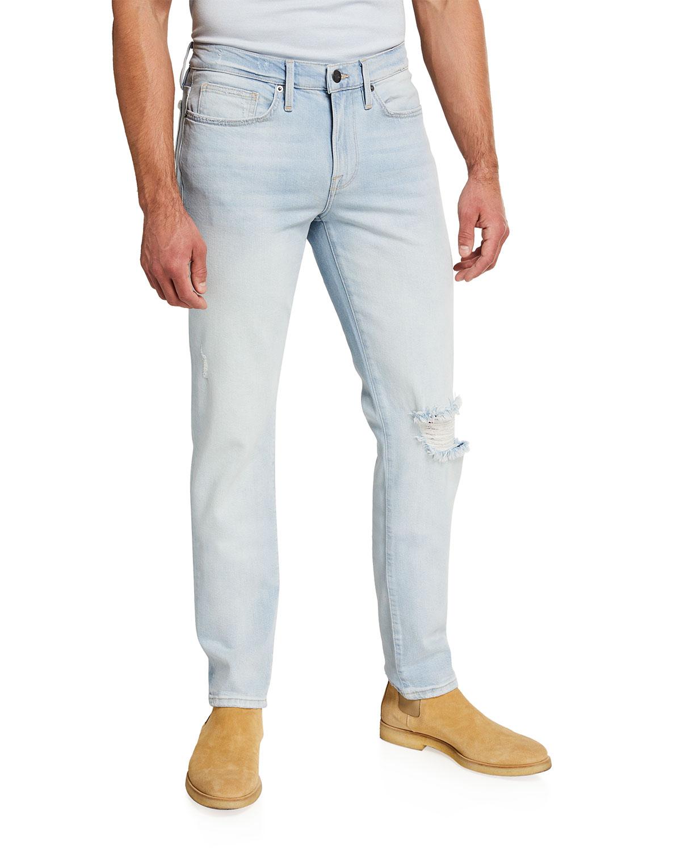 Men's L'Homme Light-Wash Skinny Jeans