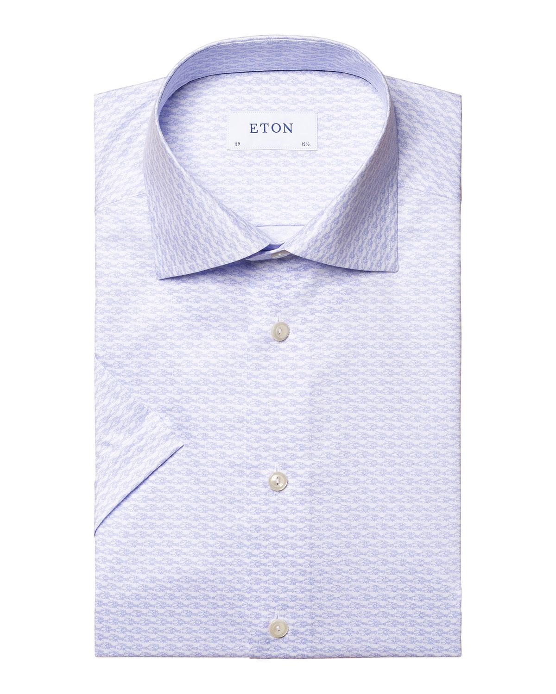 Eton MEN'S SHORT-SLEEVE CRAYFISH-PRINT SPORT SHIRT