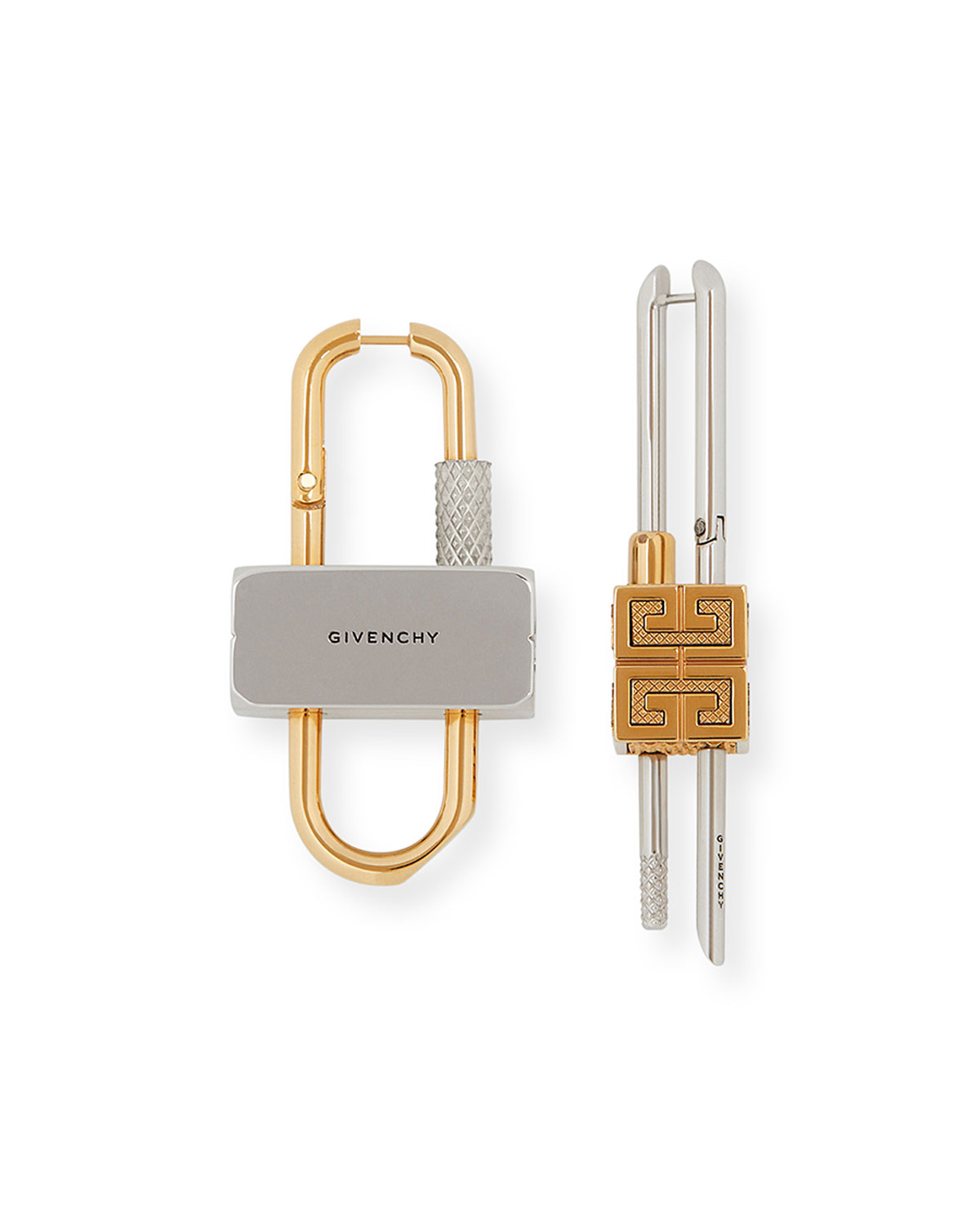 Givenchy MEN'S TWO-TONE MISMATCH LOCK EARRINGS