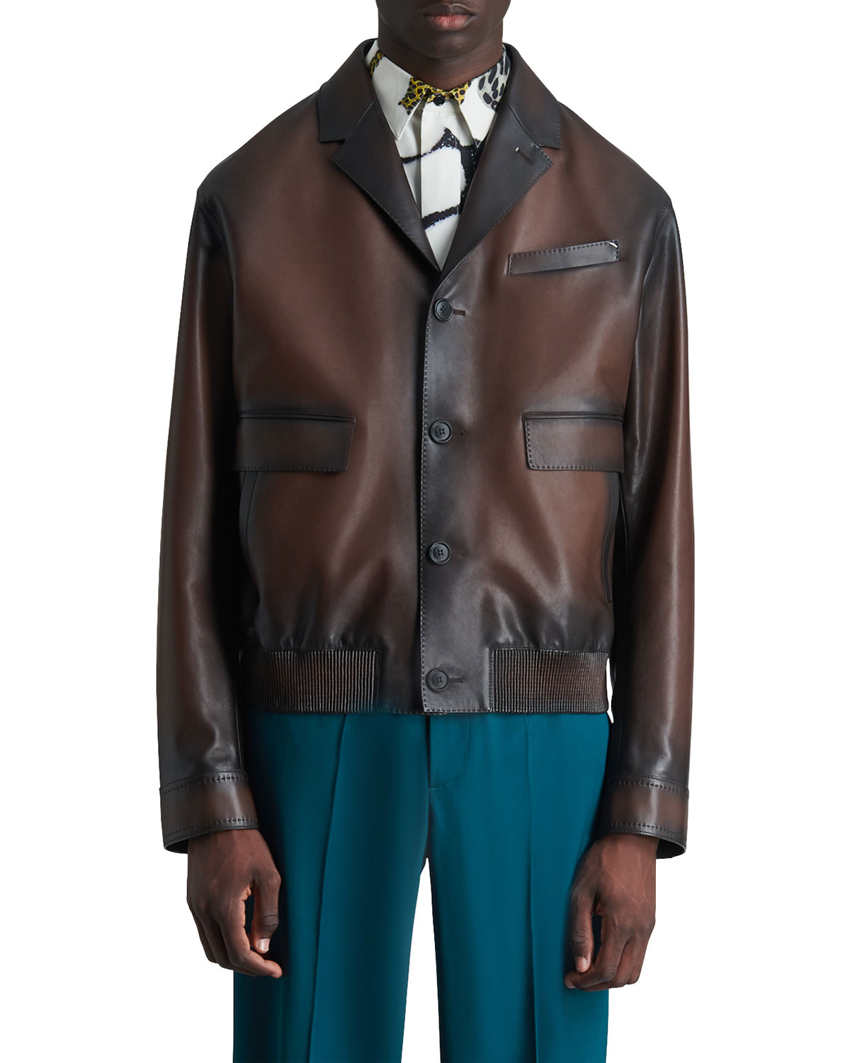 Berluti MEN'S ROCHEFORT VARNISHED LEATHER BOMBER JACKET