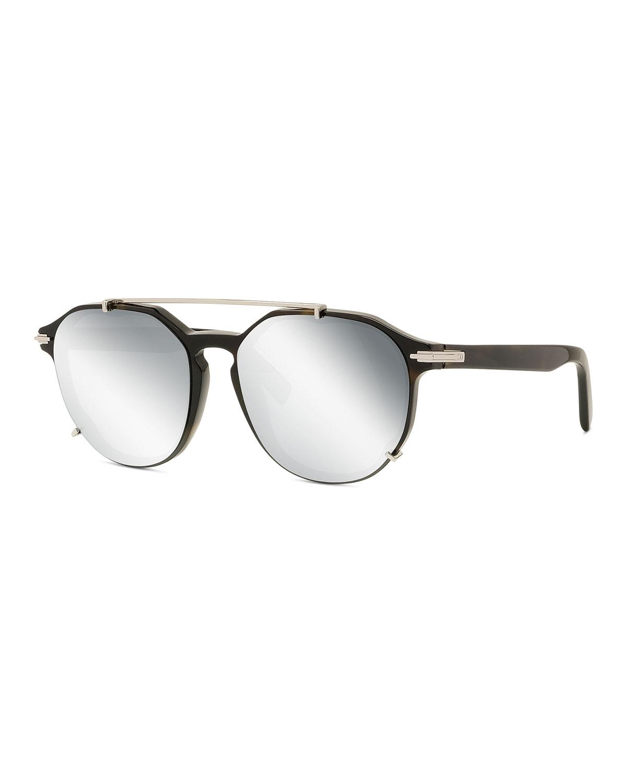 Men's Blacksuit Round Brow-Bar Sunglasses
