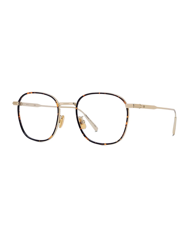 Oversized Square Metal/Acetate Optical Glasses