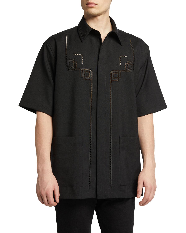 Men's Wool A Jour Sport Shirt