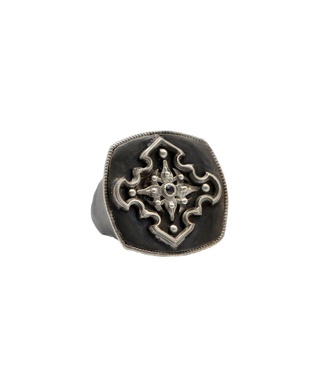 Men's Romero Blackened Silver Pointed Cross Ring