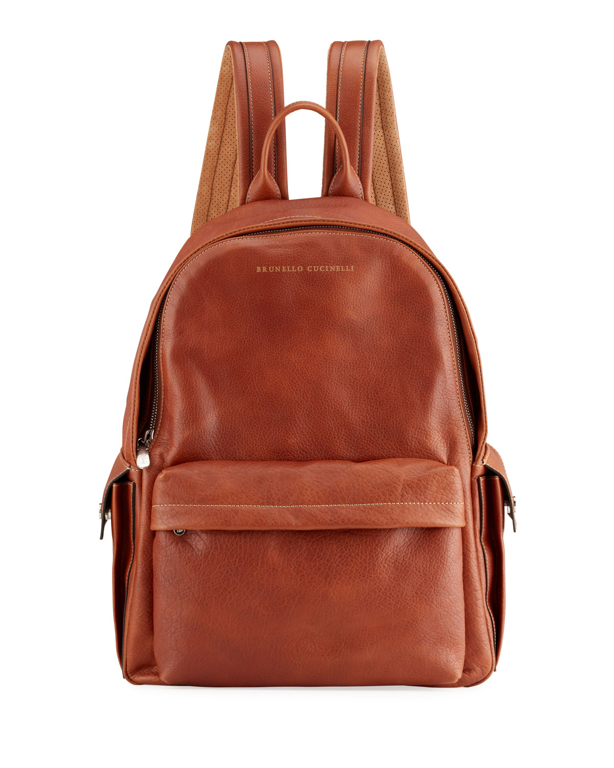 Brunello Cucinelli MEN'S GRAINED LEATHER BACKPACK