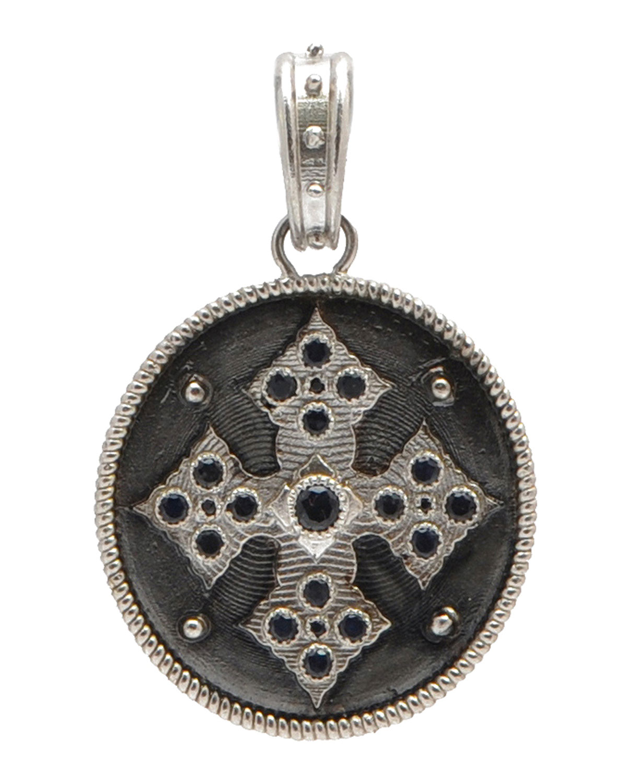 Men's Romero Cross Medallion Pendant w/ Black Sapphires
