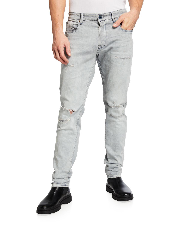 Men's 3301 Slim-Straight Distressed Jeans