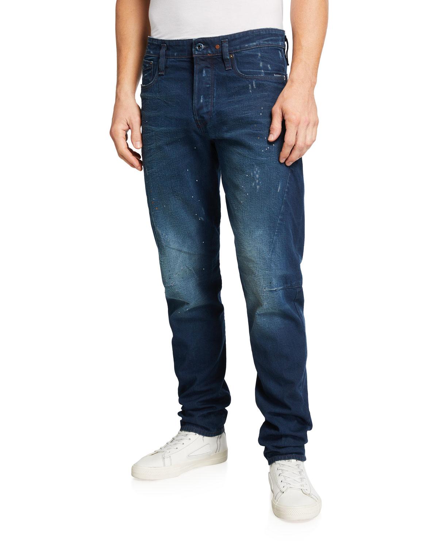 Men's Scutar 3D Tapered Paint-Spot Jeans